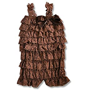 Hairbows Unlimited Baby Toddler Girls Lace Ruffle Petti Romper for Infant to 2-4t (Large (1-2 years), Chocolate Brown)
