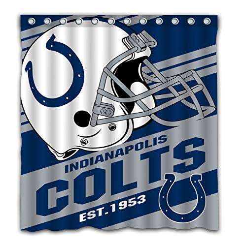 (Potteroy Indianapolis Colts Team Stripe Design Shower Curtain Waterproof Polyester Fabric 66x72 Inches)