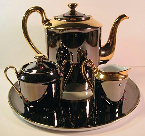 Tea Set, (Teapot, Creamer, Sugar Bowl and Tray), 4 Pieces, Limoges Porcelain France, Hand-Painted Artist: Sophie -