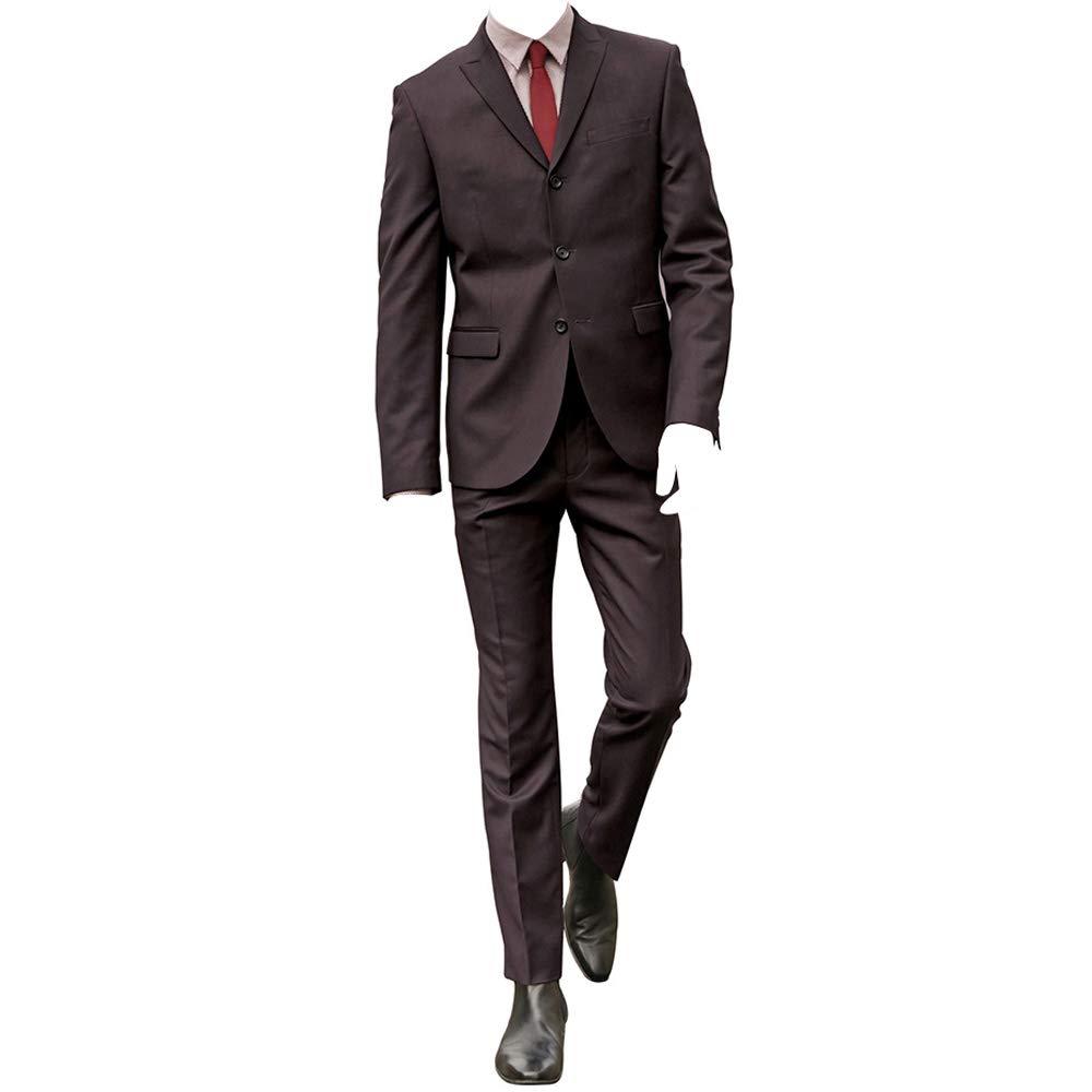 HBDesign Men 2 Piece 3 Button Peak Lapel Slim Fit Amaranth Formal Suit