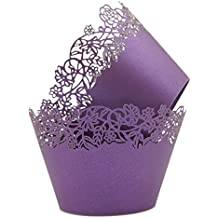 Cupcake Wrappers Pack of 50 Purple Filigree Artistic Bake Cake Paper Cups Little Vine Lace Laser Cut Liner Baking Cup Muffin Case Trays for Wedding Party Birthday Decoration -By KEIVA (Purple)