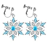 Fashion Clip on Earrings Blue Crystal Sweet Snowflake Flower Winter Christmas Gifts for Girls Women