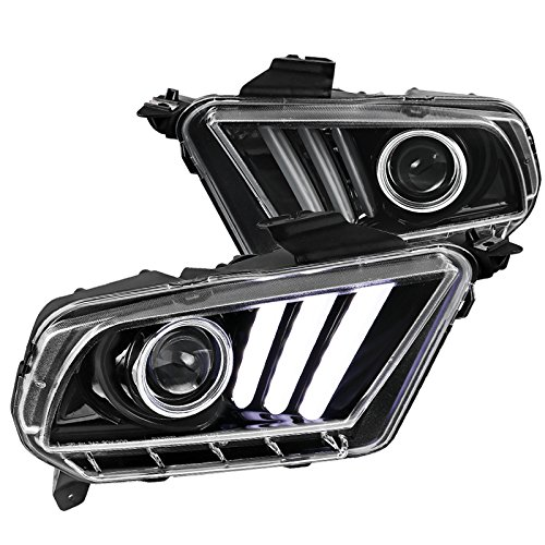 Ford Mustang Sequential LED Signal & DRL Bar Jet Black Projector Headlights Pair
