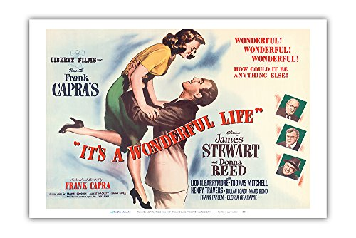 (Frank Capra's It's a Wonderful Life - Starring James Stewart, Donna Reed - Vintage Film Movie Poster c.1946 - Master Art Print - 12in x 18in)