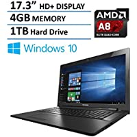 2016 New Edition Lenovo 17.3-inch High Performance Premium Laptop, AMD Quad-Core A8-6410 Processor, 17 inch HD+ Display, 4GB RAM, 1TB HDD, HDMI, DVD/CD, Webcam, Wifi, Bluetooth, Windows 10 64bit