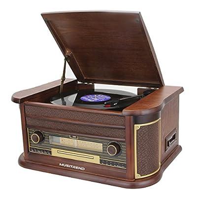 Musitrend Retro Vinyl Record Player 7-in-1 Nostalgic Turntable with Bluetooth , USB encoding, Cassette, CD, AM/FM radio, Remote, Mahogany