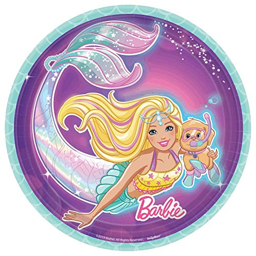 Barbie Party Plates (amscan Barbie Mermaid Iridescent Purple Round Party Plates 7