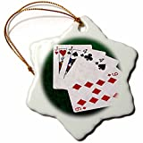3dRose Alexis Photo-Art - Poker Hands - Poker Hands One Pair, Jack - 3 inch Snowflake Porcelain Ornament (orn_270575_1)