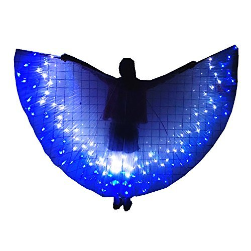 Kids Belly Dance Isis Wings for Girls, LED Light up Clothing for Party, Cosplay(Blue+White 6~7Y)]()