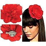 Mondial-fete - Fleur andalouse rouge avec broches 9 cm