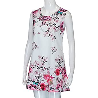 Running-sun Dress Women Summer Sleeveless Vintage Floral Print Casual O-Neck Loose Vestidos