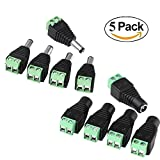 AJIBI 10 Pcs CCTV Cameras 2.1mm x 5.5mm Female Male DC Power Plug Adapter Connector