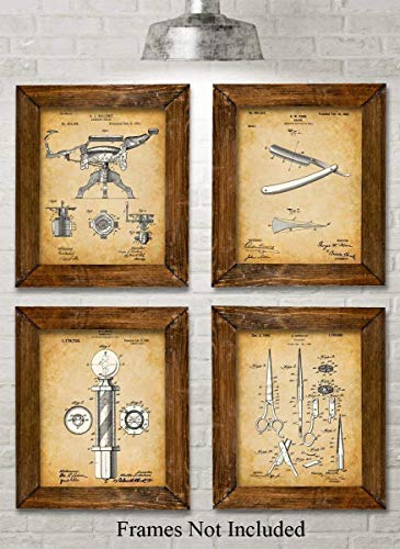 Original Barber Patent Art Prints - Set of Four Photos (8x10) Unframed - Makes a Great Gift Under $20 for Barbers or Barber Shop Decor
