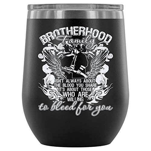 Christmas-Stainless Steel Tumbler Cup with Lids for Wine, Brotherhood Wine Tumbler, Firefighter Vacuum Insulated Wine ()