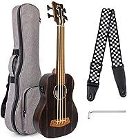 Aklot Electric Bass Ukulele 30 inch Ebony Fretless African Blackwood U Bass Professional Aquila EADG with Gig
