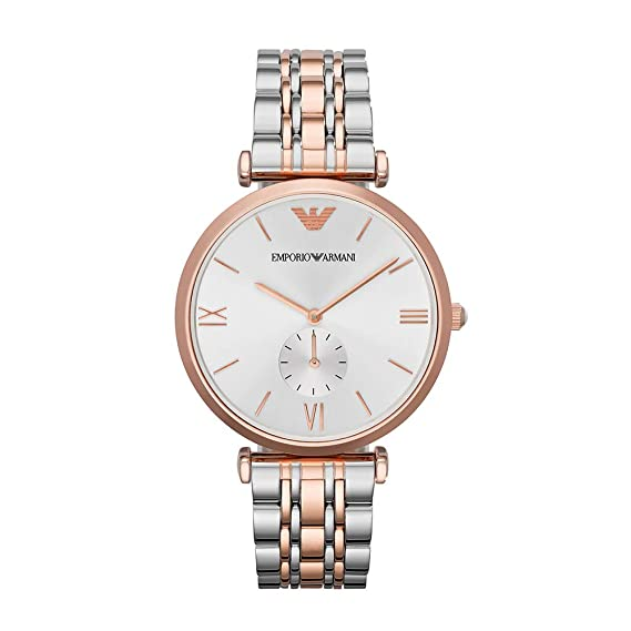 12394c6682 Emporio Armani Women's Quartz Watch with Stainless-Steel-Plated Strap, Two  Tone, 18 (Model: AR1677