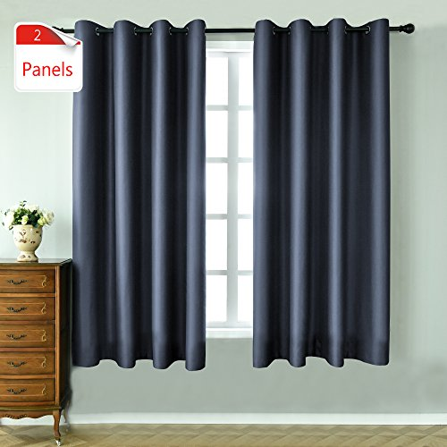 KEQIAOSUOCAI 2 Panels Dusty Blue Blackout Curtains 63 inches long for bedroom-Window Treatment T ...