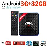 2018 Newest T96 PRO Android 6.0 TV Box 3G+32GB,Aritone Octa-Core 3D/4k/WiFi/HD Smart Media Player (Black)