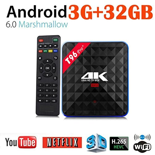 2018 Newest T96 PRO Android 6.0 TV Box 3G+32GB,Aritone Octa-Core 3D/4k/WiFi/HD Smart Media Player (Black) by T96