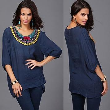 ASGHILL Boho blusas y camisas de las mujeres nueva moda bordado hecho a mano remata camisas