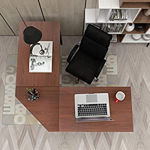sogesfurniture Computer Desk L-Shaped Corner Desk Computer Workstation Large PC Laptop Table Study Table Gaming Desk for Home and Office, 150 + 150CM, Walnut LD-Z01WA-BH