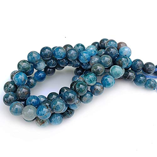 Chengmu 8mm Blue Apatite Beads for Jewelry Making Natural Gemstone Round Loose Spacer Beads Assortments Supplies Accessories for Bracelet Necklace with Elastic Cord