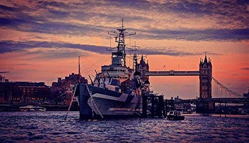 Home Comforts Peel-n-Stick Poster of HMS Belfast Skyline Sunset Bridge Tower London Poster 24x16 Adhesive Sticker Poster Print