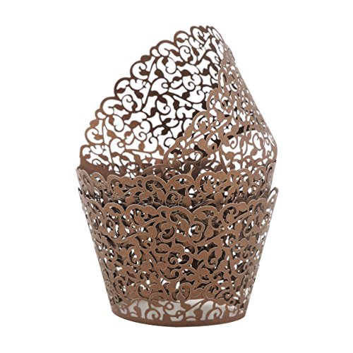 Aiyaya Filigree Artistic Muffin Case Cupcake Paper Cup Liner Little Vine Lace Laser Cupcake Wrappers for Wedding Party Birthday Decoration (Coffee Cupcake)