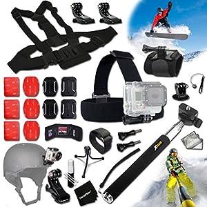 Xtech® SKI / SKIING and Snowboarding ACCESSORIES Kit for GoPro HERO4 SESSION, HERO4, Hero 4 3+ 3 2 1 Hero4 Hero3 Hero2, Hero 4 Silver, Hero 4 Black, Hero 3+ Hero3+ Hero 3 Silver, Hero 3 Black and for Skiing, Ski-Bobbing, Ski Jumping, Snowboarding, Skatebo