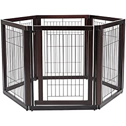 Cherry Pine Wood And Metal Pet Playpen With Ebook