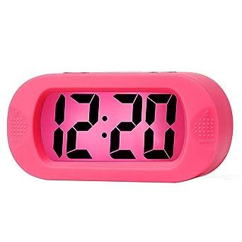 Reloj Despertador Digital de Silicona, Relojes Despertadores Digitales con Función Snooze y Luz Nocturna para