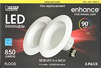 Feit Enhance 90+ CRI 75W Replacement Dimmable 2700K Soft White 5- to 6-Inch LED Retrofit Kit, 2-Pack