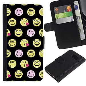 Paccase / Billetera de Cuero Caso del tirón Titular de la tarjeta Carcasa Funda para - happy smiley face funny emoticon - Samsung Galaxy S6 SM-G920