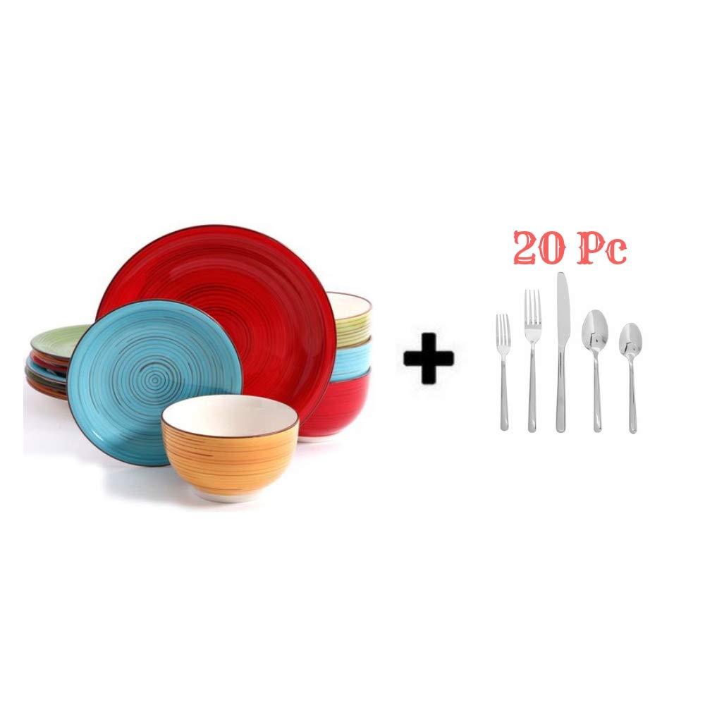 Better Homes and Gardens 12 Piece Dinnerware Set (12 Piece, Black with Flatware Set) Better Homes and Gardens..