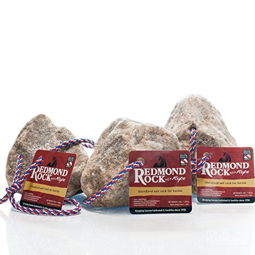 REDMOND - Rock on a Rope Unrefined Salt Rock for Horses 3 to 5 lbs (3 Pack) (Horse Salt Lick)