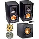 """Klipsch R-15PM Powered Monitor Speakers w/ Bluetooth (Pair) + Wireless Subwoofer Bundle Includes, Klipsch R-10SW Powerful 10"""" 300W Subwoofer, Professional Stereo Turntable w/ USB LP to DIG & More"""