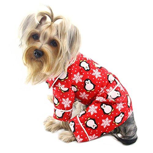 Penguins & Snowflake Flannel Dog Pajamas/Bodysuit/Loungewear – Red – LARGE