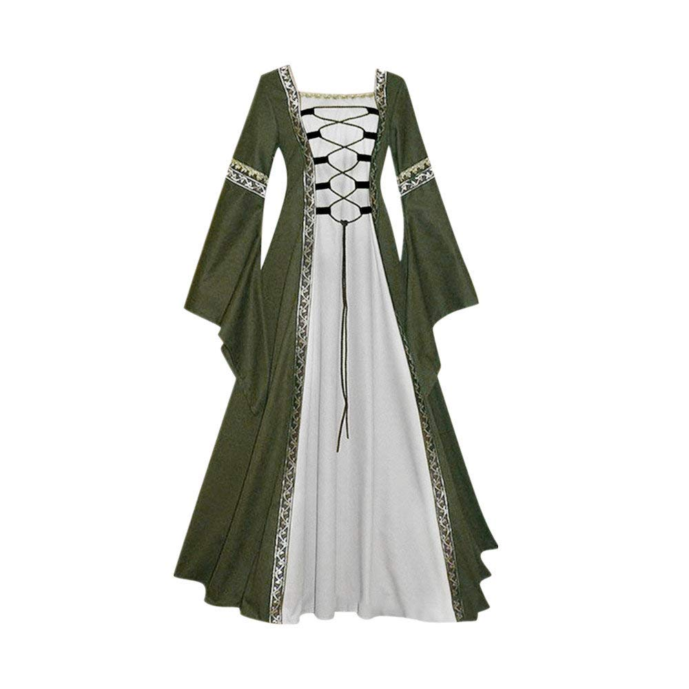Victorian Vintage Dresses-Womens Vintage Celtic Medieval Dress Costume Gown Cosplay Costumes Lace up Flare Long Dress