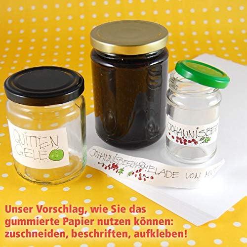 50 DIN A4 Bogen klassisch nassklebendes, weißes Papier (mit Trockengummierung, ideal zum selbst Bedrucken und Auseinanderschneiden für Marmeladengläser, Honig, Weinflaschen.)