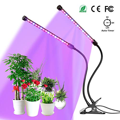 Grow Light, YUNLIGHTS 18W Plant Grow Lamp with Clip, Auto Turn On, 5 Levels Brightness, 360 Degree Adjustable for Indoor Plants, Succulents, Hydroponics, Greenhouse, Garden,Office, Dual Head