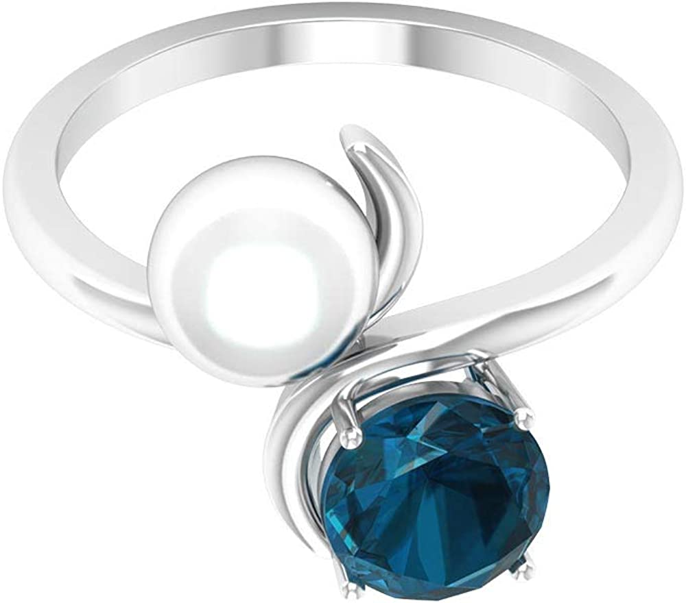 Anillo de compromiso de 4,40 quilates con perlas de topacio azul, chapado en oro de 10 quilates