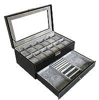 Sodynee Watch Box Large 12 Mens Black Pu Leather Display Glass Top with Jewelry Box Case Organizer Tray