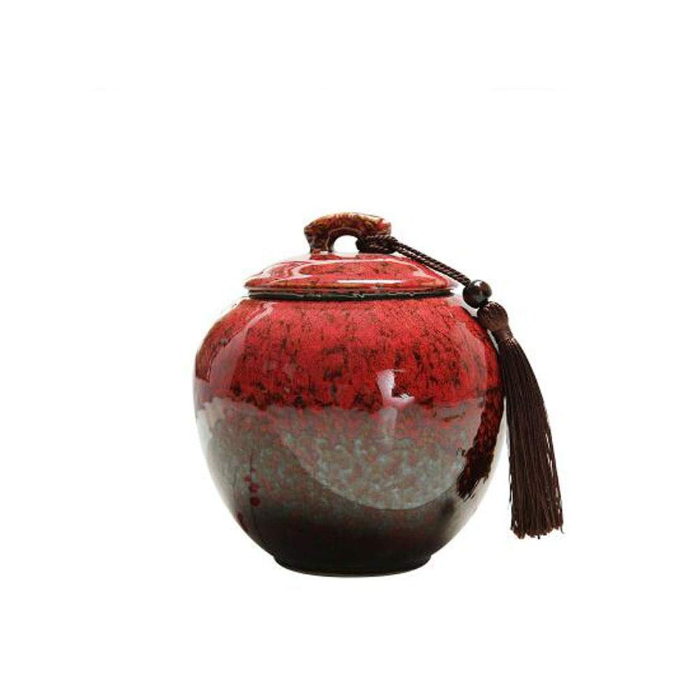 Red Yougou01 Commemorative Cremation Ceremony Dedicated to Ashes Affordable Ceramic Series for Dog Funeral Multi-color Optional, Kiln Turns Red Exquisite (color   Red)