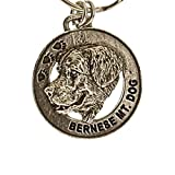 Creative Pewter Designs, Pewter Bernese Mountain Dog Key Chain, Antiqued Finish, DK024