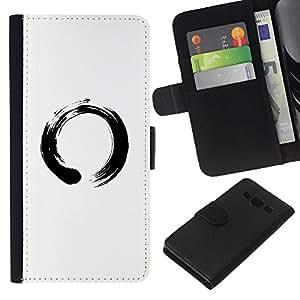 LECELL--Cuero de la tarjeta la carpeta del tirón Smartphone Slots Protección Holder For Samsung Galaxy A3 -- Símbolo chino del Círculo --