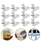 Chip Bag Clips 12 Pcs Set Silver Stainless Steel Smooth Heavy-Duty Durable for Food Bags Air Tight Seal Paper Clamps Home Kitchen Office School Supplies