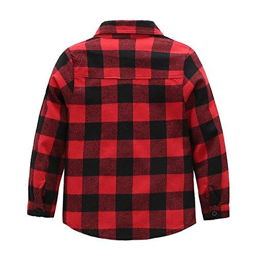Grandwish Kids Long Sleeve Boy's Girl's Plaid Flannel Shirt Red Black 6 by Grandwish (Image #4)