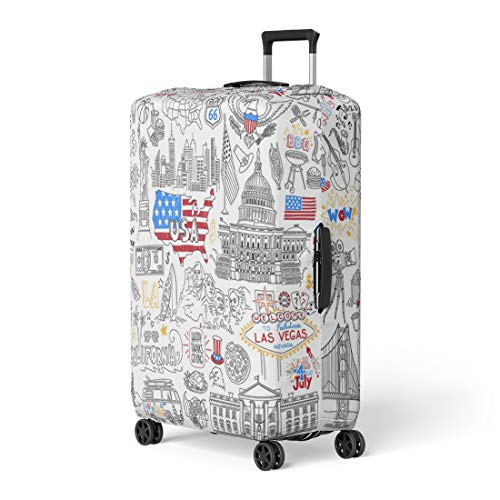 - Pinbeam Luggage Cover Usa Outline United States of America Popular Symbols Travel Suitcase Cover Protector Baggage Case Fits 26-28 inches