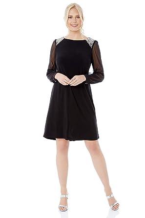 9bd32f43066 Roman Originals Femme Robe Tulle avec Détail Epaules - Automne Hiver  Manches Longues Mousseline Soirée Nouvel