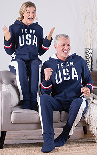 PajamaGram Team USA Hooded Onesie Footed Pajamas For Men, Navy Blue, Med
